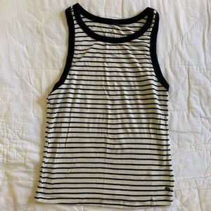 Black and White Striped Ribbed Tank